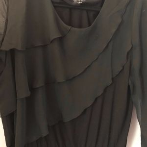 Chico's Ruffle Front Top with Sheer Sleeves Size 2